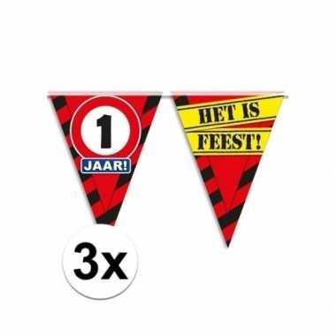 3x decoratie vlaggenlijn verkeersbord 1 jaar
