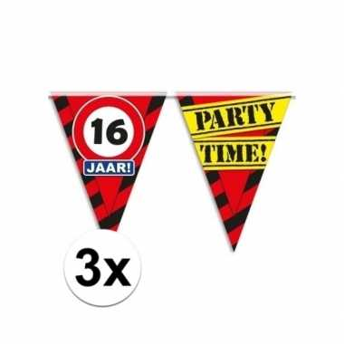 3x decoratie vlaggenlijn verkeersbord 16 jaar