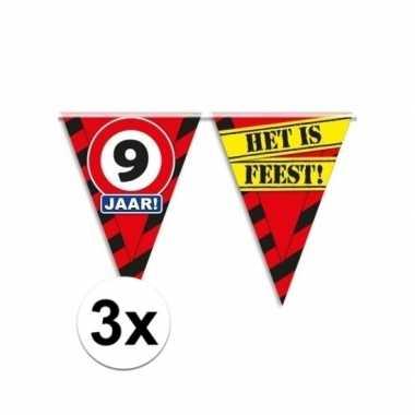 3x decoratie vlaggenlijn verkeersbord 9 jaar
