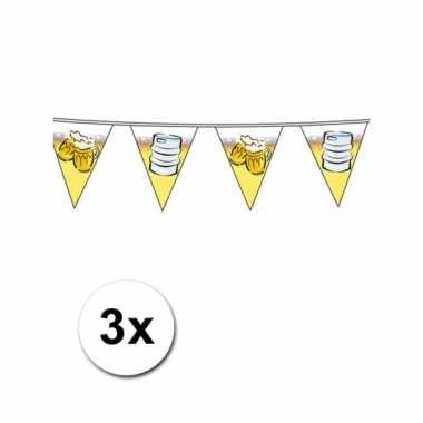 3x feest vlaggenlijnen met bier 10 meter