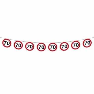 3x feestartikelen slinger versiering 70 jaar verkeersborden 12 meter