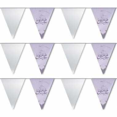3x feestartikelen zilveren ramadan vlaggenlijn eid mubarak 6 meter