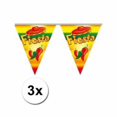 3x feestversiering vlaggenlijn fiesta