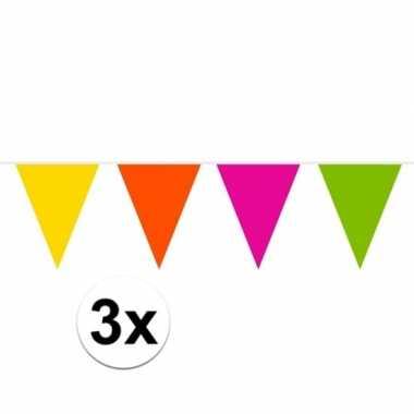3x gekleurde slinger 10 meter