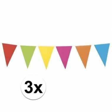 3x gekleurde vlaggenlijn xl 10 meter
