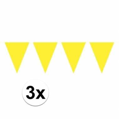 3x gele mini vlaggenlijn feestversiering
