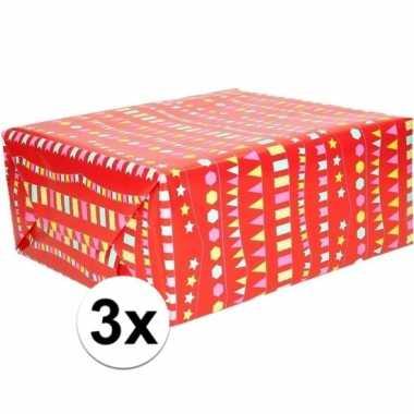 3x geschenkpapier rood met vlaggenlijnen 200 x 70 cm