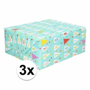 3x geschenkpapier verjaardag vlaggetjes 70 x 200 cm