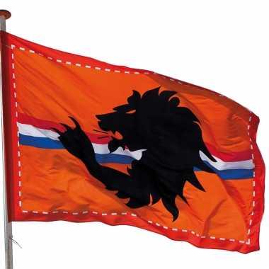 3x mega oranje holland stadion vlag met leeuw 300x200 cm - oranje straatversiering