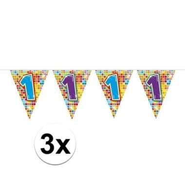 3x mini vlaggenlijn feestversiering met leeftijd 1