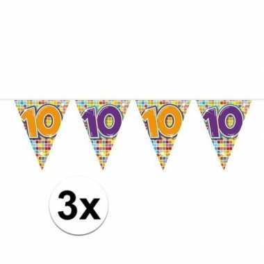 3x mini vlaggenlijn feestversiering met leeftijd 10