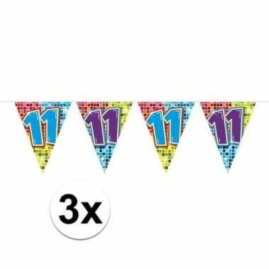 3x mini vlaggenlijn feestversiering met leeftijd 11