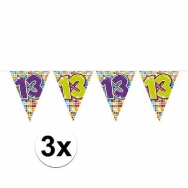 3x mini vlaggenlijn feestversiering met leeftijd 13