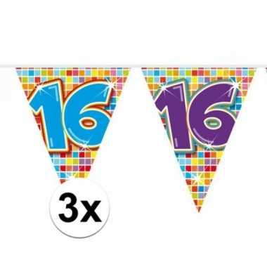 3x mini vlaggenlijn feestversiering met leeftijd 16