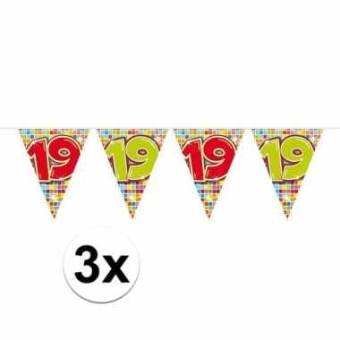 3x mini vlaggenlijn feestversiering met leeftijd 19