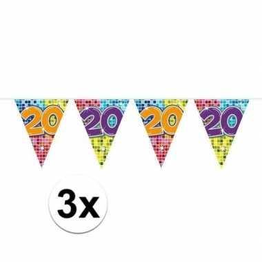3x mini vlaggenlijn feestversiering met leeftijd 20