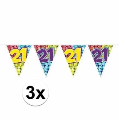 3x mini vlaggenlijn feestversiering met leeftijd 21