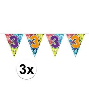 3x mini vlaggenlijn feestversiering met leeftijd 3