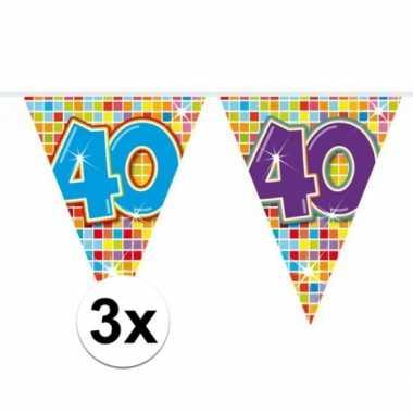 3x mini vlaggenlijn feestversiering met leeftijd 40
