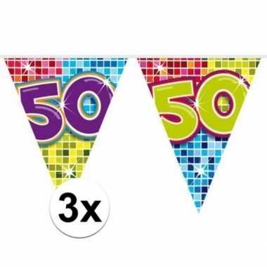 3x mini vlaggenlijn feestversiering met leeftijd 50