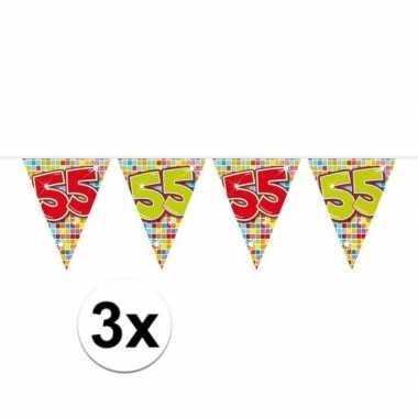 3x mini vlaggenlijn feestversiering met leeftijd 55