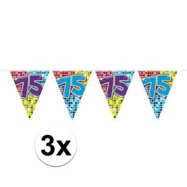 3x mini vlaggenlijn feestversiering met leeftijd 75