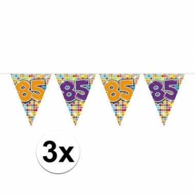 3x mini vlaggenlijn feestversiering met leeftijd 85