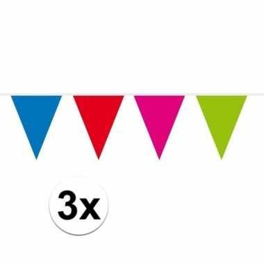 3x mini vlaggenlijn versiering multi colour 300 cm