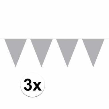3x mini vlaggenlijn versiering zilver 300 cm