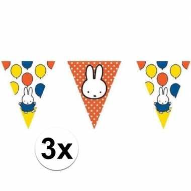3x nijntje vlaggenlijnen multi 10 meter