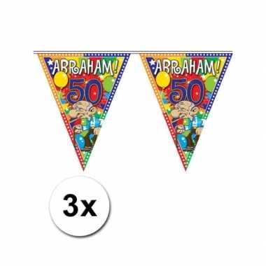 3x plastic abraham 50 jaar vlaggenlijn