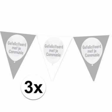 3x plastic communie vlaggenlijnen 10 meter