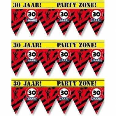 3x plastic markeerlinten vlaggetjes 30 jaar 12 meter feestartikelen