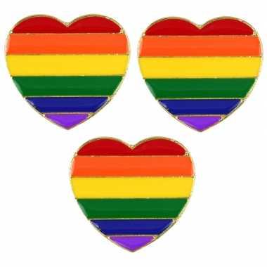 3x regenboogvlag kleuren metalen pin/broche hartje 3 cm
