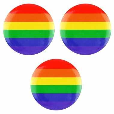 3x regenboogvlag kleuren tas broche 2 cm