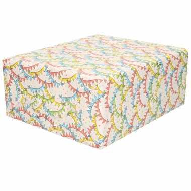 3x rollen inpakpapier/cadeaupapier wit met gekleurde vlaggetjes/vlaggenlijnen design 200 x 70 cm