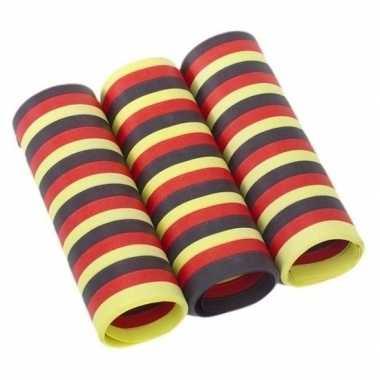 3x rolletjes serpentine rollen zwart/rood/geel van 4 meter