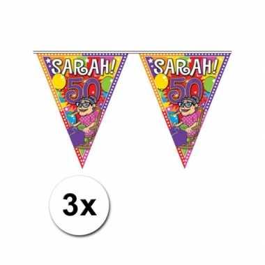 3x sarah 50 jaar vlaggenlijnen 10 meter