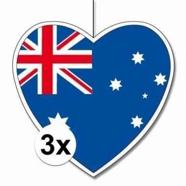 3x thema australie hangdecoratie hart 28 cm
