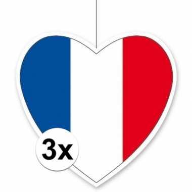 3x thema frankrijk hangdecoratie hart 28 cm