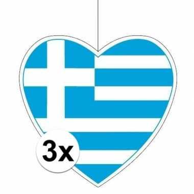 3x thema griekenland hangdecoratie hart 28 cm