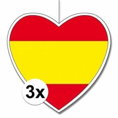 3x thema spanje hangdecoratie hart 28 cm