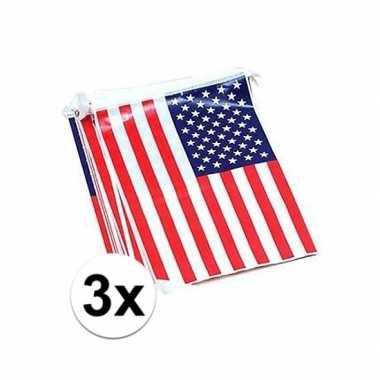 3x usa vlaggenlijnen 7 meter