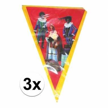 3x vlaggen slinger sint en piet 5 meter