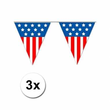 3x vlaggenlijn amerika 5 meter