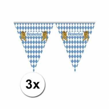 3x vlaggenlijn blauw met wit geblokt