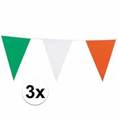 3x vlaggenlijn groen/wit/oranje 7 meter