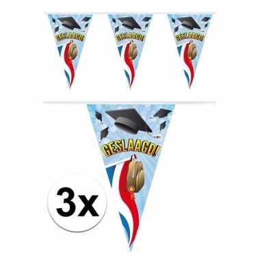 3x vlaggenlijnen geslaagd thema feestartikelen 10 meter