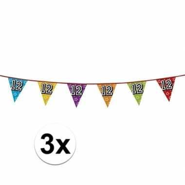 3x vlaggetjes 12 jaar feestje