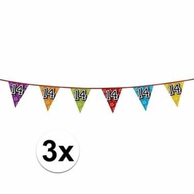 3x vlaggetjes 14 jaar feestje
